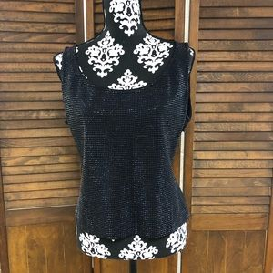 St. John Black Sparkle Beaded Top
